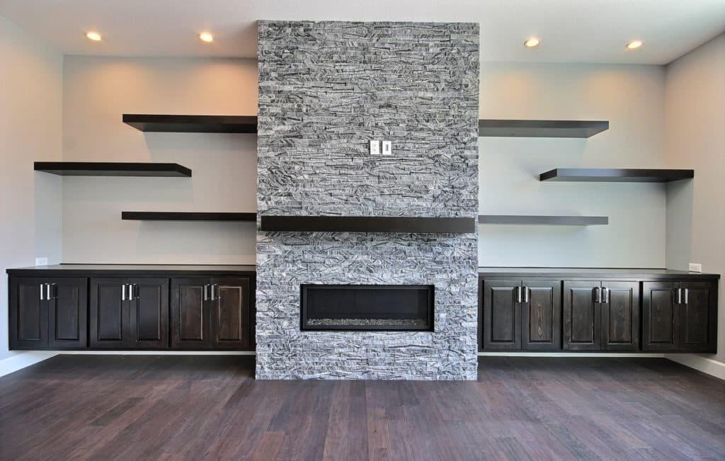 Ridgline Grey Stacked Stone Fireplace Cladding 1