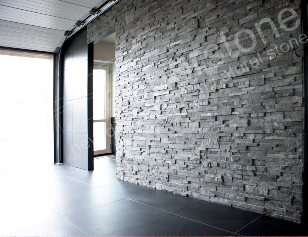 Highly Textured Stone Feature Wall Entryway