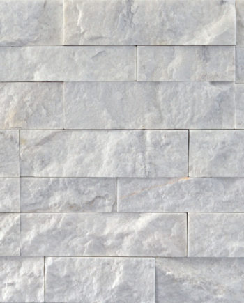White Mist Slim Line Stacked Rock Panel Quartz