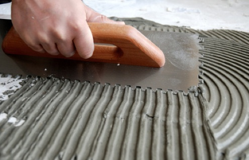 Thinset for Stone Veneer with Trowel